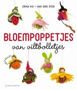 Vilt: Bloempoppetjes van viltbolletjes, Erna Vis